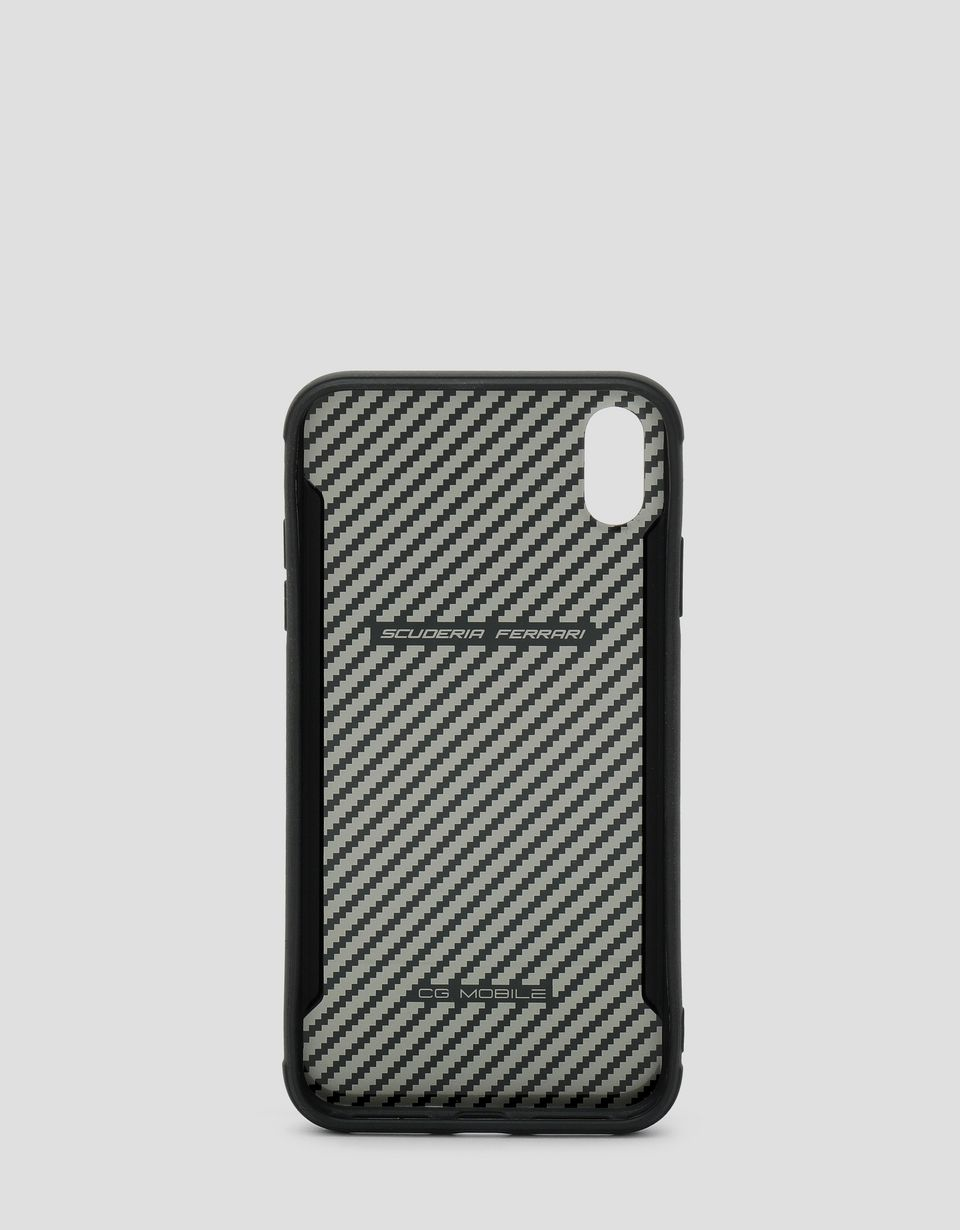 Scuderia Ferrari Online Store - Black rigid carbon fiber effect case for the iPhone XS Max - Smartphone Accessories