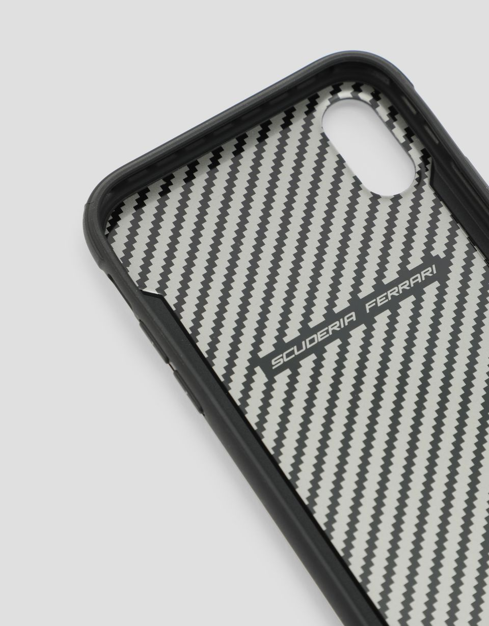 Scuderia Ferrari Online Store - Black rigid carbon fiber effect case for the iPhone XR - Smartphone Accessories