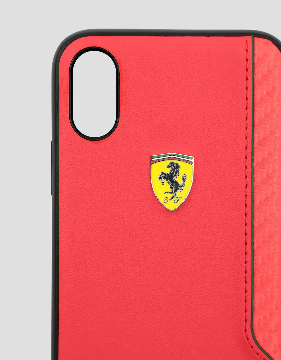Scuderia Ferrari Online Store - Rigid case in red soft-touch rubber for the iPhone X and XS - Smartphone Accessories