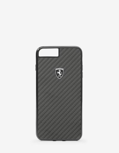 Black rigid carbon fiber case for the iPhone 8 Plus
