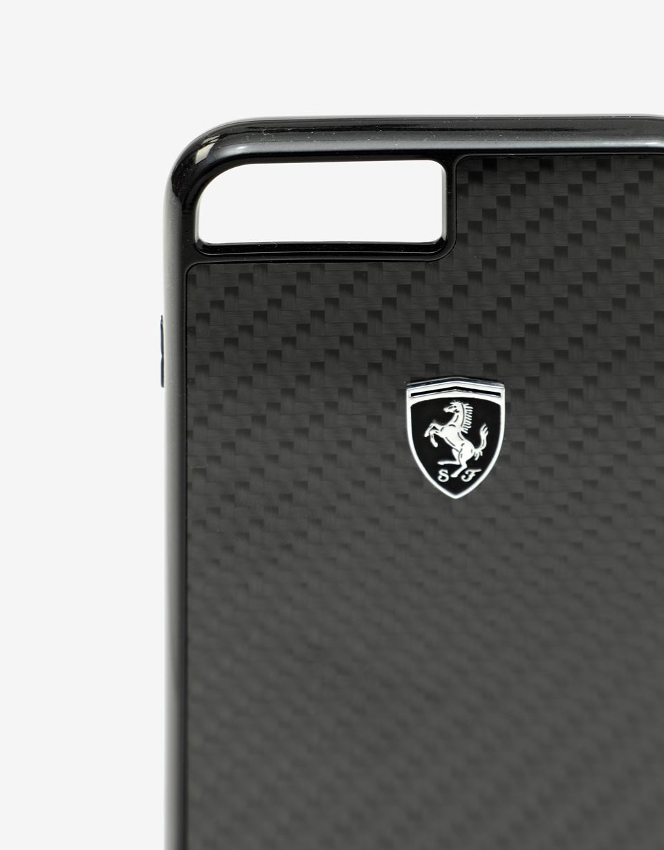 Scuderia Ferrari Online Store - Black rigid carbon fiber case for the iPhone 8 Plus - Smartphone Accessories
