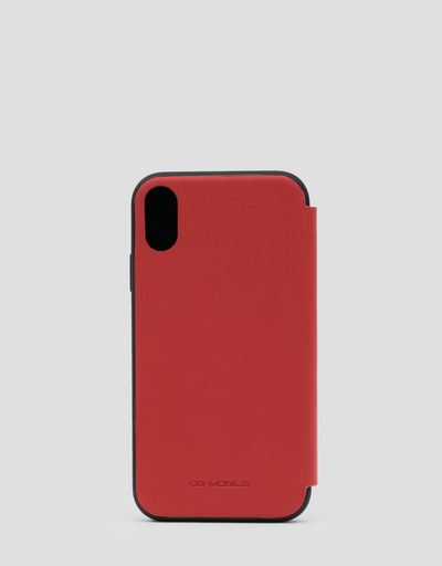 Red leather flip case for iPhone XR