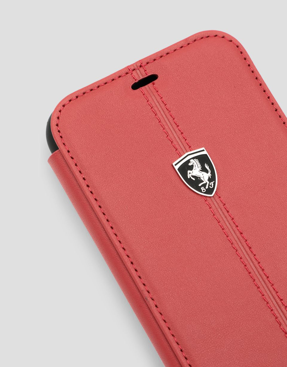 Scuderia Ferrari Online Store - Red leather flip case for iPhone XR - Smartphone Accessories