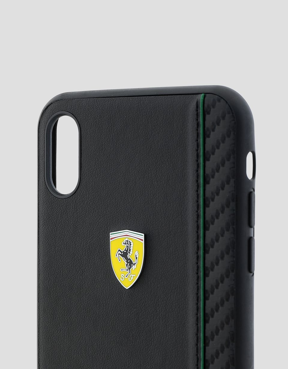 Scuderia Ferrari Online Store - Rigid case in black soft-touch rubber for the iPhone XS Max -