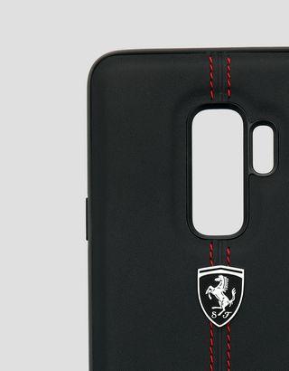 Scuderia Ferrari Online Store - Funda rígida de piel de color negro para Samsung Galaxy S9 Plus - Accesorios para smartphones
