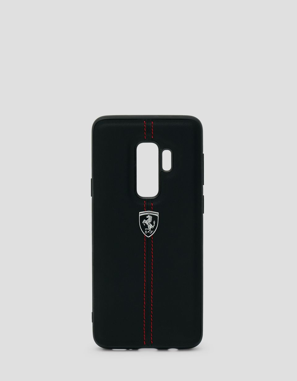 Scuderia Ferrari Online Store - Black rigid leather case for the Samsung Galaxy S9 Plus - Smartphone Accessories