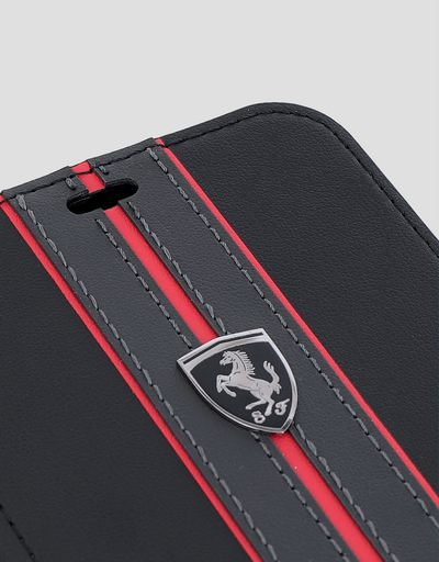 Scuderia Ferrari Online Store - Black leather flip case with contrasting insert for iPhone XR - Smartphone Accessories