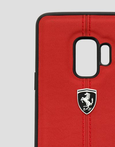 Scuderia Ferrari Online Store - Red rigid leather case for the Samsung Galaxy S9 - Smartphone Accessories