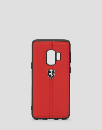 Red rigid leather case for the Samsung Galaxy S9
