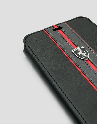 Scuderia Ferrari Online Store - Black wallet case with contrasting insert for the iPhone XS Max - Smartphone Accessories