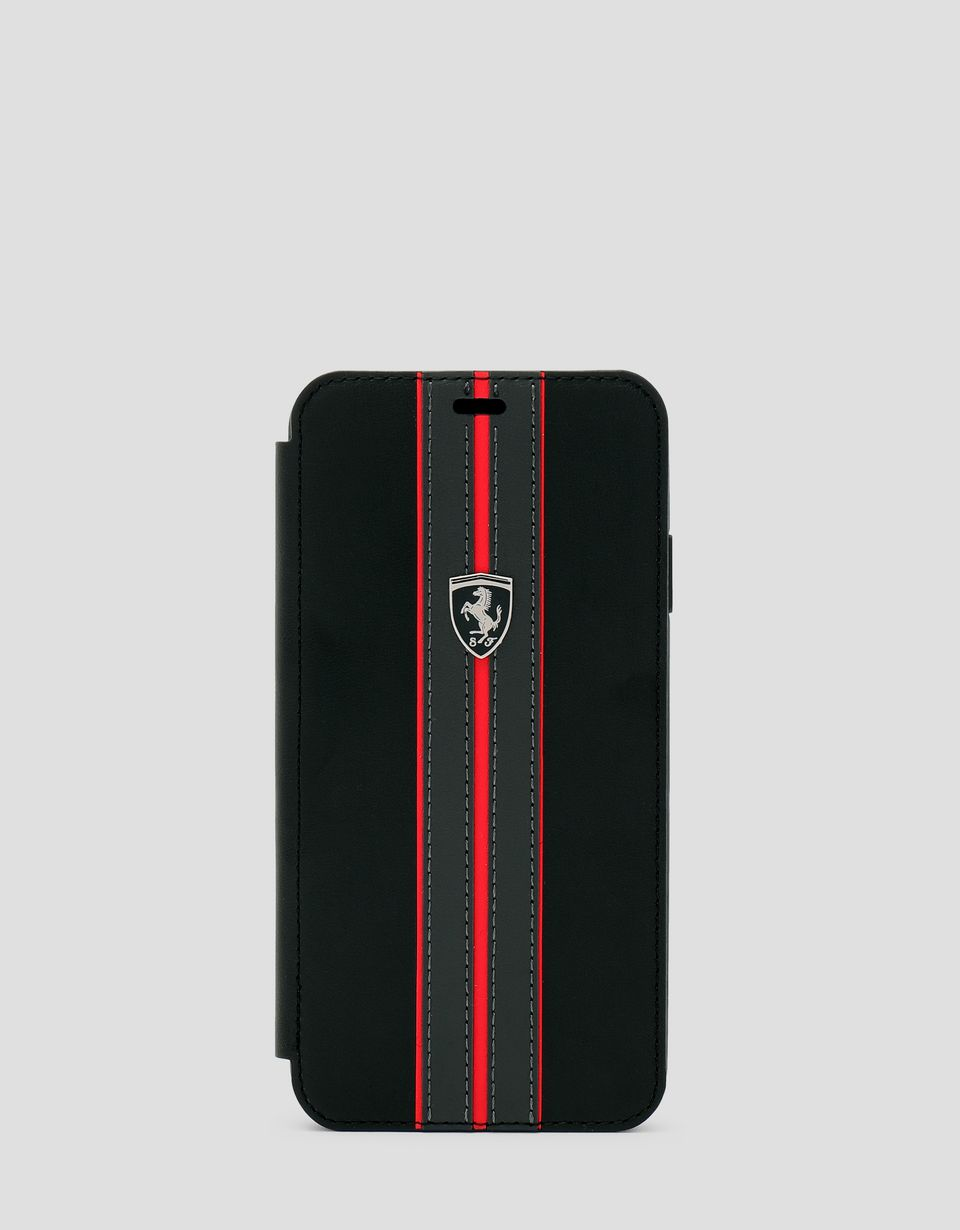 Scuderia Ferrari Online Store - Black leather flip case with contrasting insert for iPhone XS Max - Smartphone Accessories