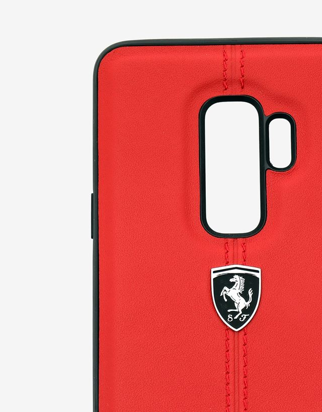 Scuderia Ferrari Online Store - Red rigid leather case for the Samsung Galaxy S9 Plus - Smartphone Accessories