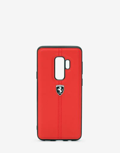 Red rigid leather case for the Samsung Galaxy S9 Plus