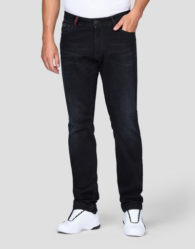 Men's jeans with five pockets and arrow print