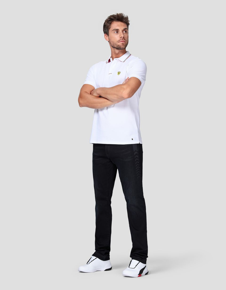 Scuderia Ferrari Online Store - Men's jeans with five pockets and arrow print -