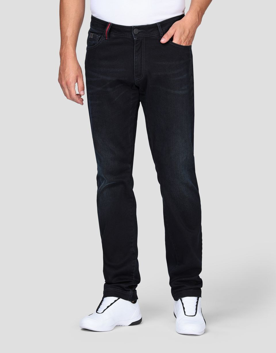 Scuderia Ferrari Online Store - Men's jeans with five pockets and arrow print - 5-pocket trousers