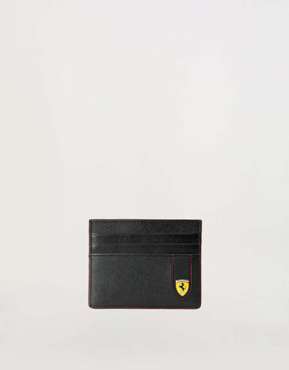 Scuderia Ferrari Online Store - EVO credit card holder in Saffiano leather - Credit Card Holders