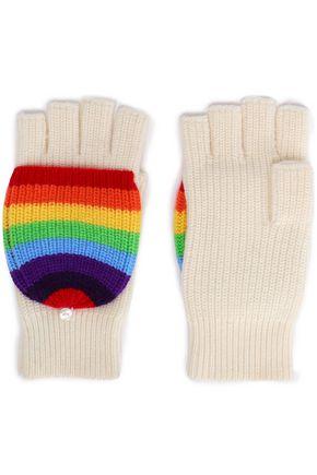 MADELEINE THOMPSON リブ編み ストライプ ウール&カシミヤ混 フィンガーレス手袋