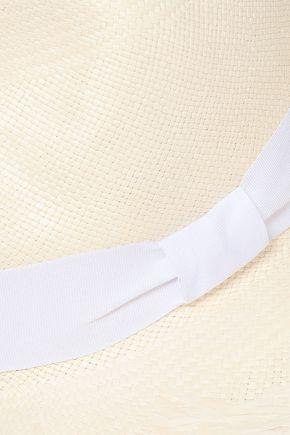 SENSI STUDIO Frayed bow-embellished straw panama hat
