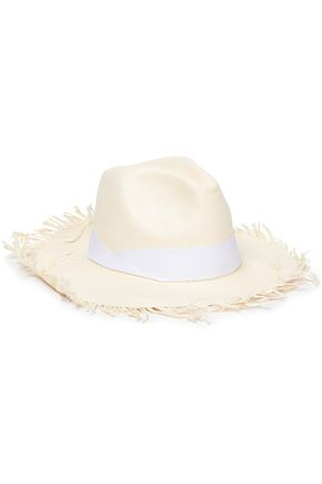 SENSI STUDIO Frayed bow-embellished straw panama hat