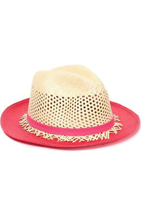 SENSI STUDIO Color-block perforated straw hat
