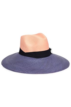 SENSI STUDIO Grosgrain-trimmed two-tone straw panama hat