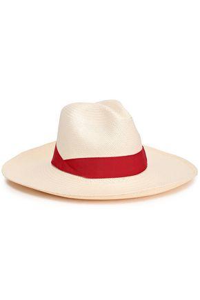 SENSI STUDIO Grosgrain-trimmed straw panama hat
