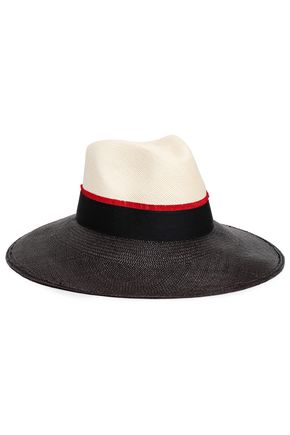 SENSI STUDIO Grosgrain-trimmed color-block straw panama hat