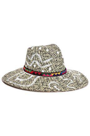SENSI STUDIO Embroider-trimmed painted straw panama hat