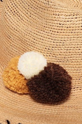 SENSI STUDIO Pompom-embellished whipstiched toquilla straw Panama hat