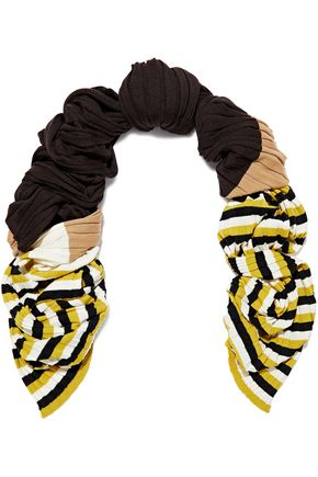 MARNI Striped ribbed wool scarf