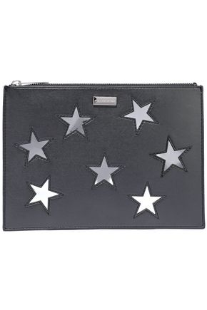 STELLA McCARTNEY Cutout faux matte and mirrored-leather pouch