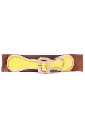 MARNI Patent-leather and stretch-twill belt