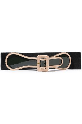 MARNI Patent-leather and stretch-twill belt