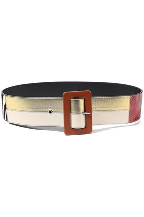 MARNI Zebra-print calf hair, metallic and matte leather belt