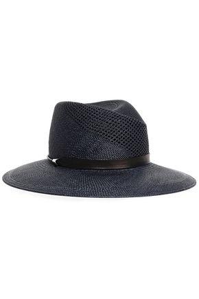RAG & BONE Leather-trimmed straw panama hat