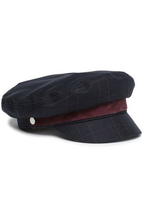RAG & BONE Suede-trimmed checked wool-blend cap