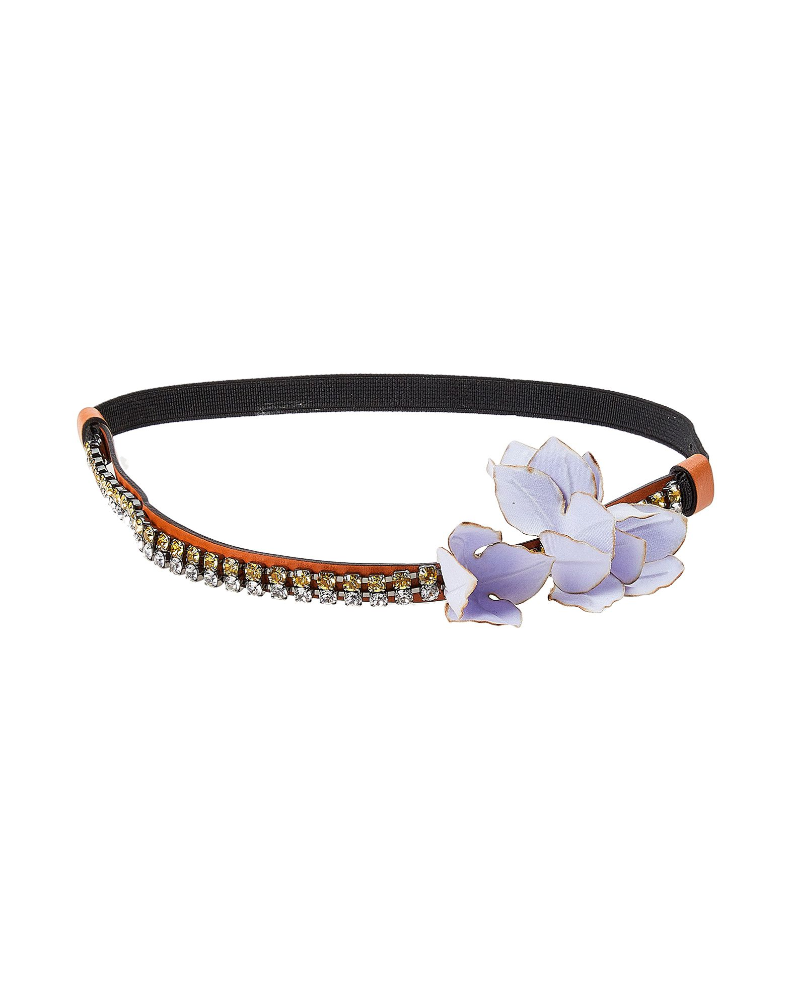 MARNI Hair accessories. contrasting applications, flower application, solid color, contains non-textile parts of animal origin, headband. Soft Leather, Textile fibers