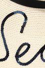 EUGENIA KIM Grosgrain-trimmed sequin-embellished paper-blend sunhat