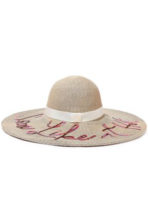 EUGENIA KIM Grosgrain-trimmed sequin-embellished paper-blend sunhat