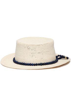 SENSI STUDIO Bead-trimmed straw panama hat