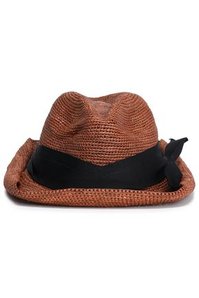 SENSI STUDIO Bow-embellished grosgrain-trimmed straw sun hat