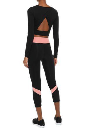 IRIS & INK Cropped color-block stretch leggings