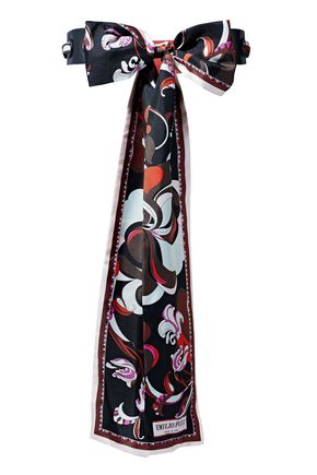 EMILIO PUCCI Printed silk-twill and leather belt