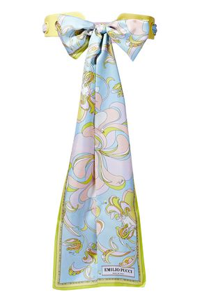 EMILIO PUCCI Bow-detailed printed silk-twill and leather belt