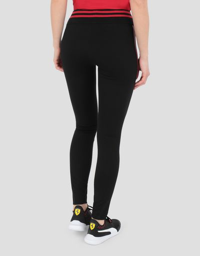 Women's Scuderia Ferrari leggings with double contrasting stripe