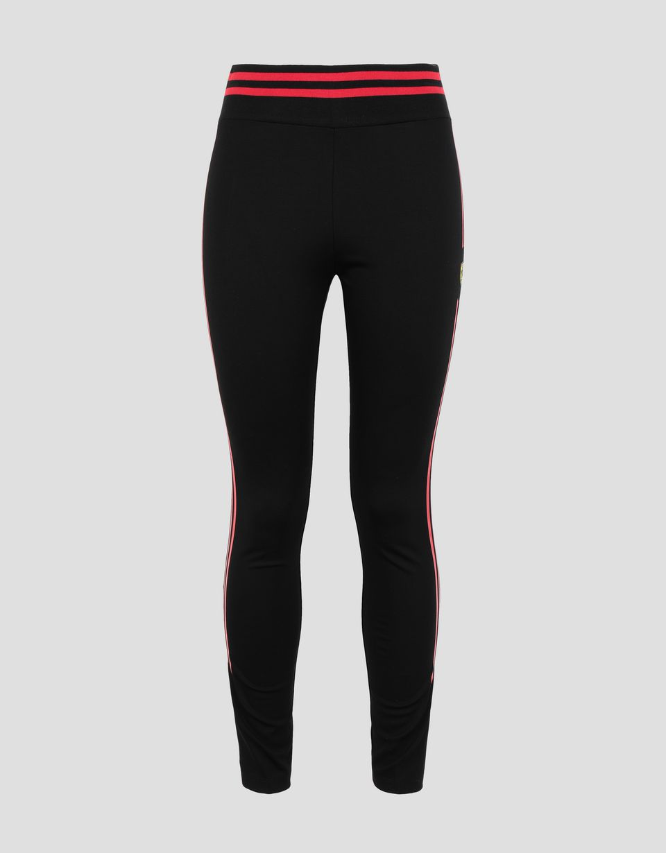 Scuderia Ferrari Online Store - Women's Scuderia Ferrari leggings with double contrasting stripe - Tights & Yoga Pants