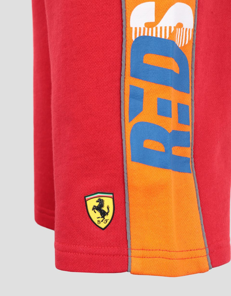 Scuderia Ferrari Online Store - Boy's shorts in French Terry with the words RED SOUL - Shorts