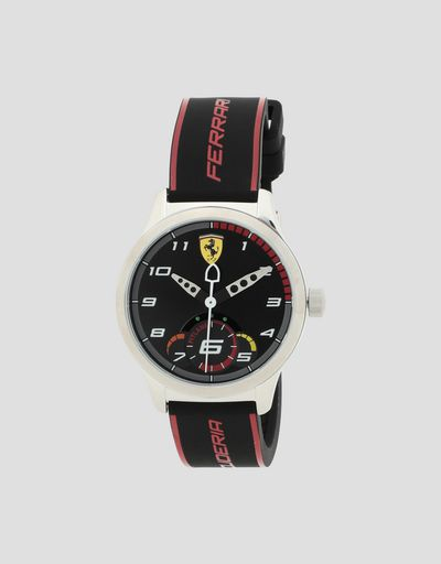 Black Pitlane watch for teenagers with red details