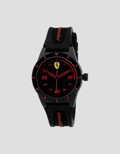 Boys' black Red Rev watch with red details